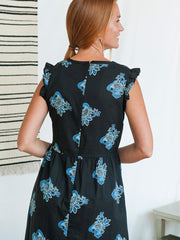 Ruffled Midi Dress Black Paisley