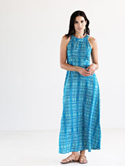 Shibori Maxi Dress Blue