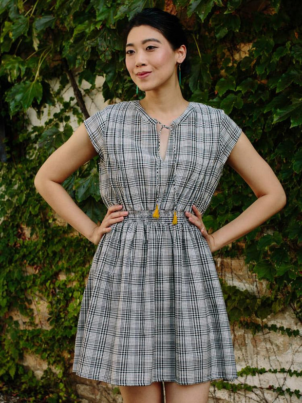 Smock Waist Dress Black Plaid