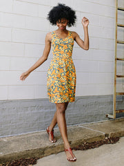 Summer Sonnet Dress Orange Floral