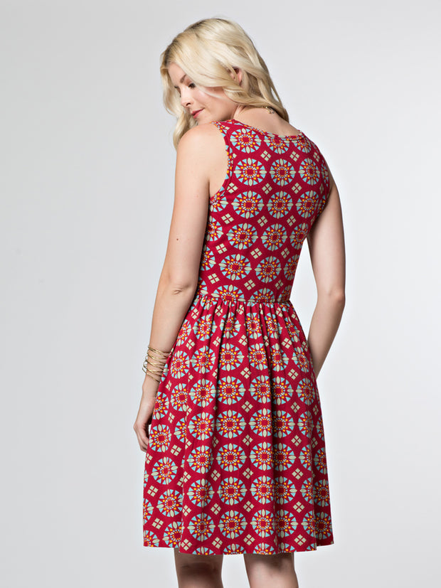 Summer Sonnet Dress Red Mosaic