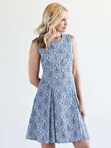 The Fine Print Dress Blue