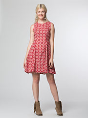 The Fine Print Dress Red Tile