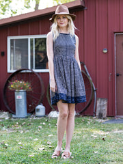 Tic Tac Toe Dress Navy