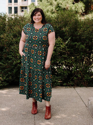 Tiered Jersey Plus Size Dress Teal Tile