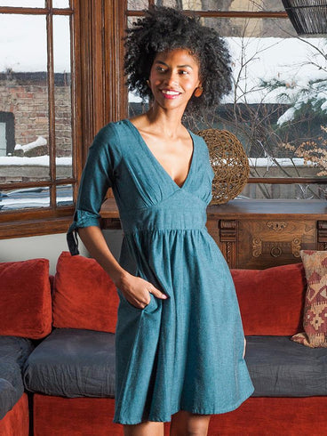 Tie Sleeve Dress Teal