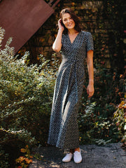 Wrap Maxi Dress Black Dots