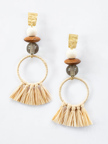 Alaya Raffia Earrings Gold