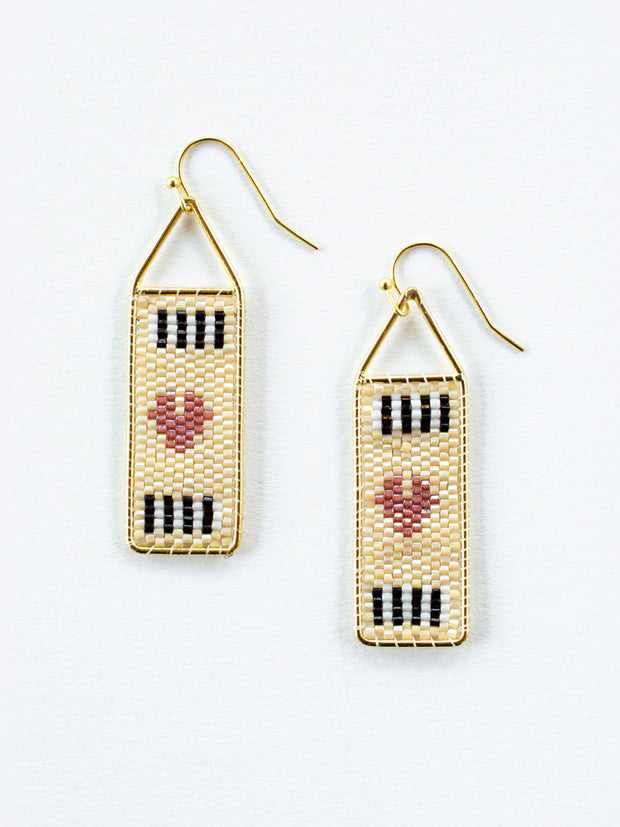 Beaded Heart Earrings Gold