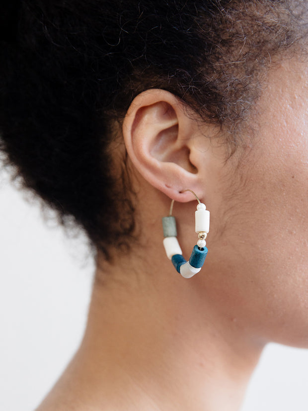 Emily Hoop Earrings Blue