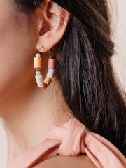 Emily Hoop Earrings Coral