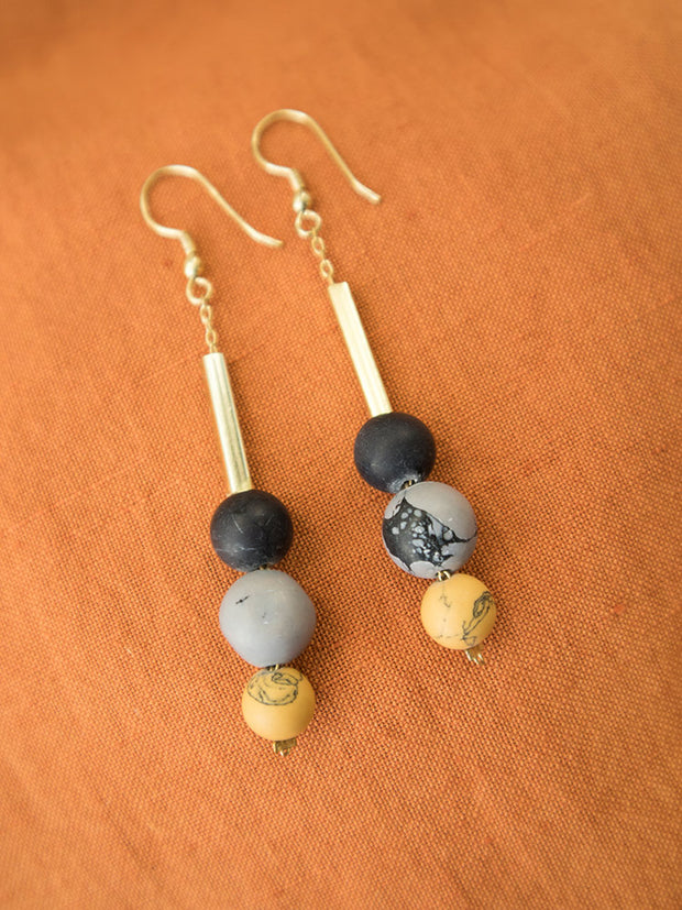Stacked Clay Beaded Earrings Smoke