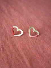 Threaded Heart Studs Gold