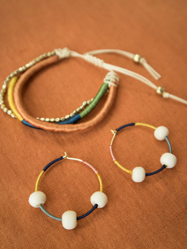 Threaded Hoop Earrings Multi