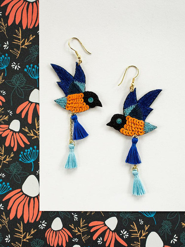 Blue Bird Earrings Blue