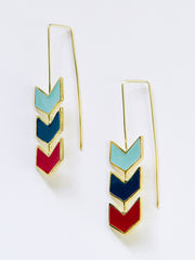 Chevron Hook Earrings Blue Multi