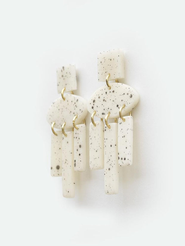 Dappled Shapes Earrings White