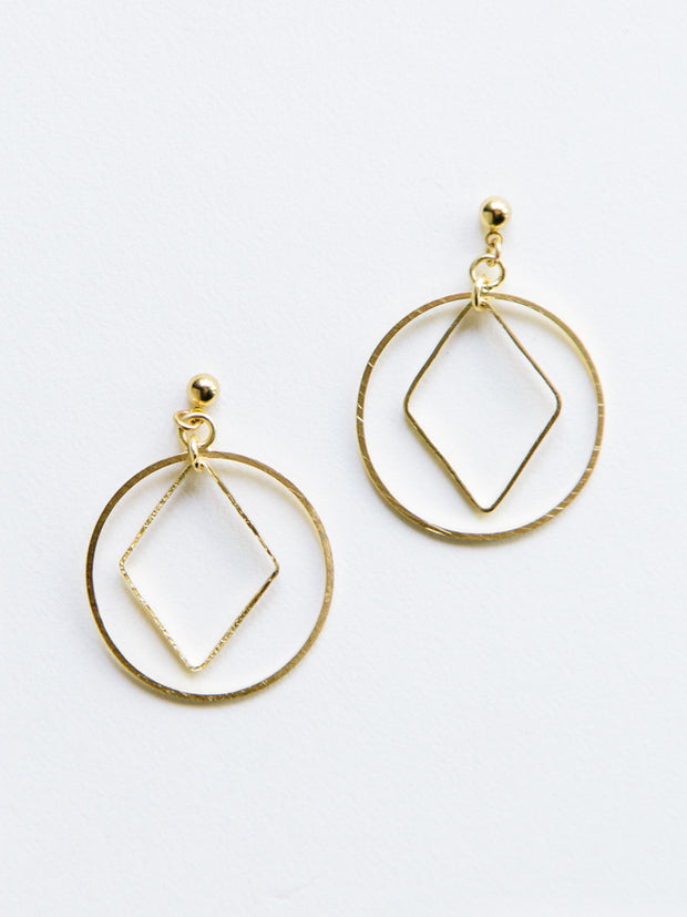 Diamond Hoop Studs Gold