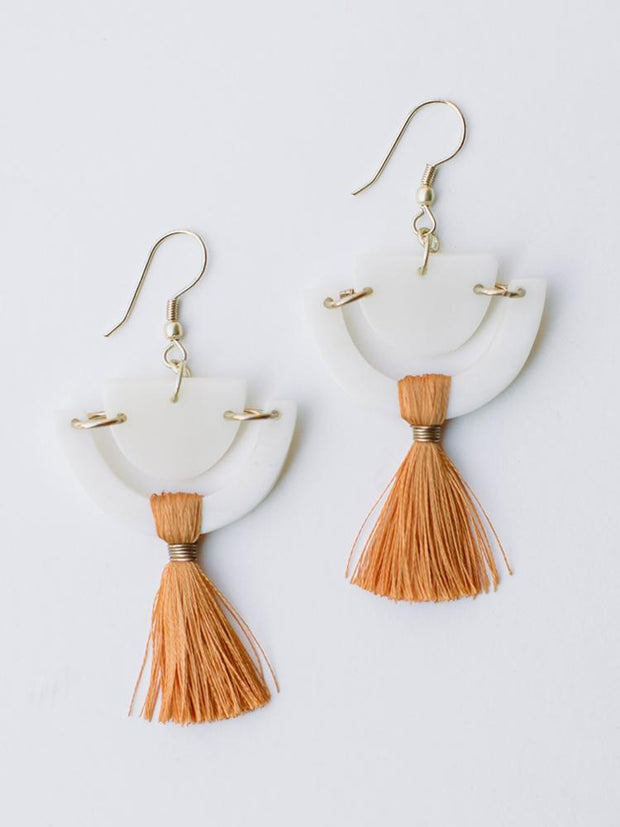 Doric Tassel Earrings Orange