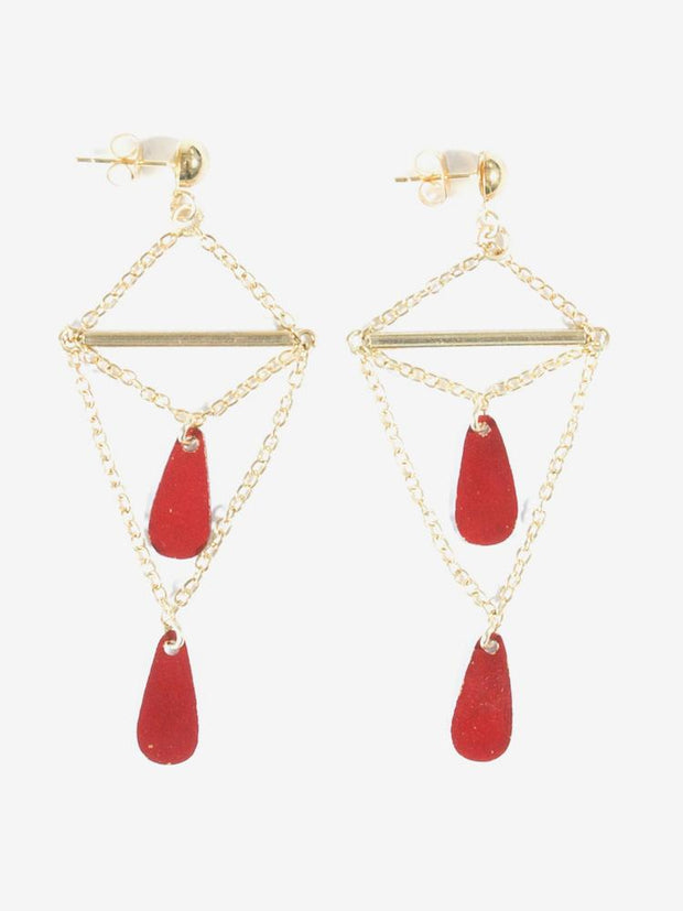 Double Drop Earrings Red