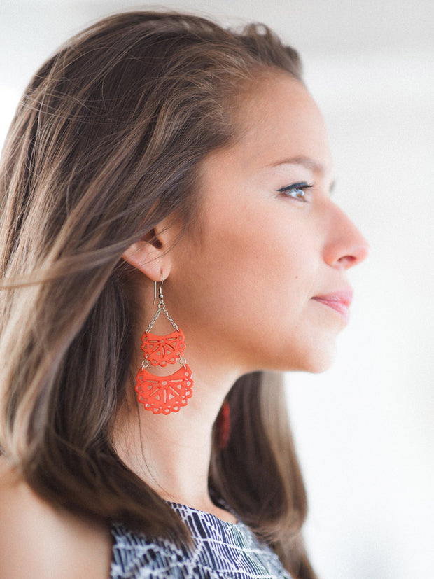 Etched Crescent Earrings Coral