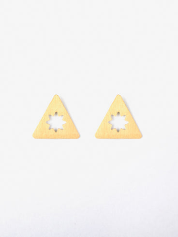 Etched Star Studs Gold