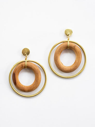 Harley Hoop Earrings Wood