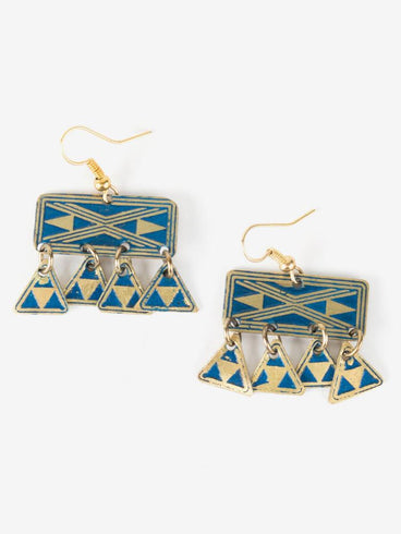 Kilim Fringe Earrings Navy