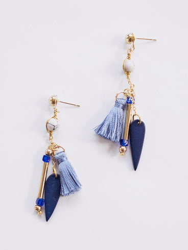 Palmetto Stud Earrings Blue