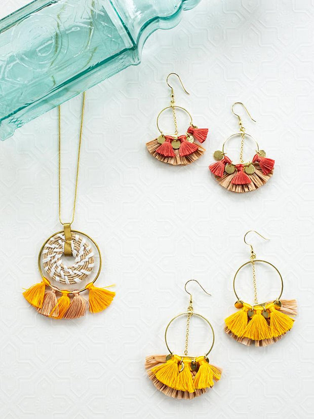 Raffia Charm Earrings Yellow