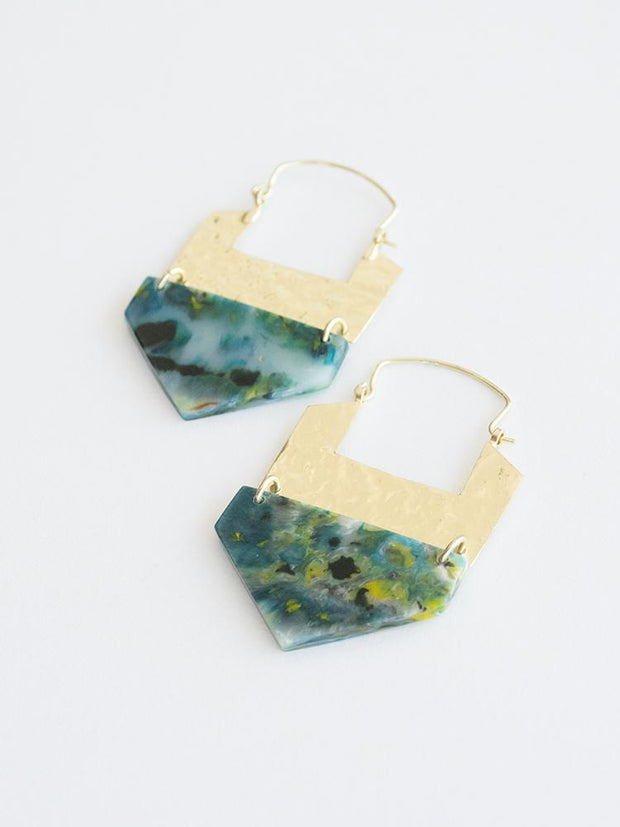 Resin Hook Earrings Green