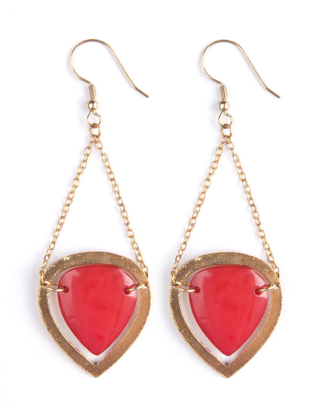 Sansa Drop Earrings Red