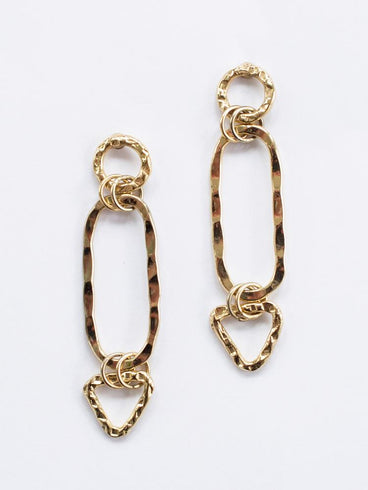 Shape Link Earrings Gold
