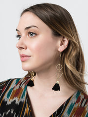 Suede Tassel Earrings Black