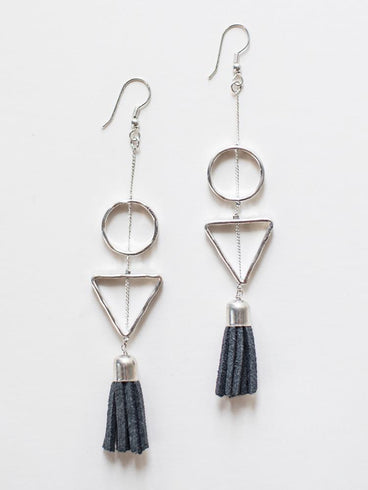 be1cf6b70 Suede Tassel Earrings Grey