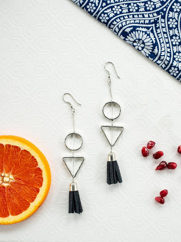 Suede Tassel Earrings Grey