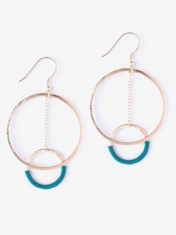Thread And Hoop Earrings Emerald