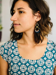 Thread Dot Earrings Blue