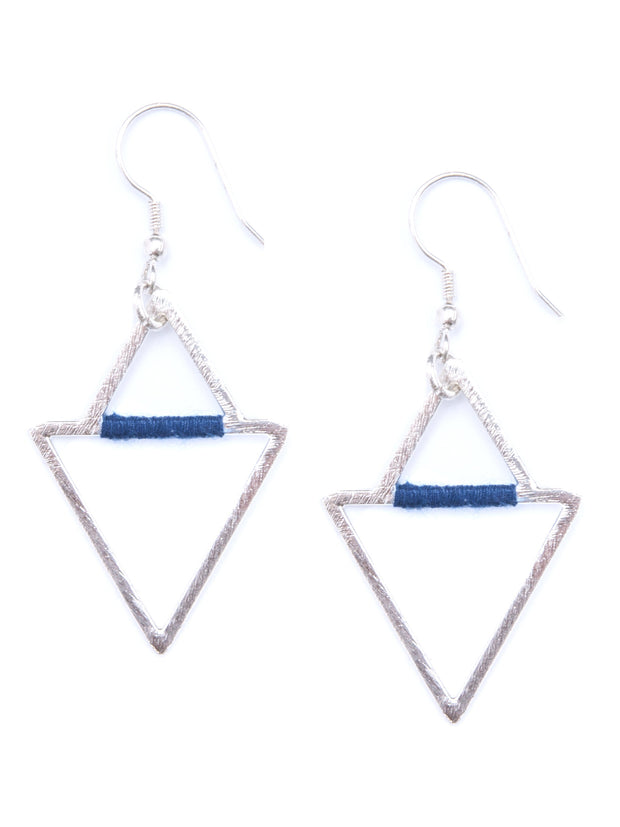 Threaded Angles Earrings Silver