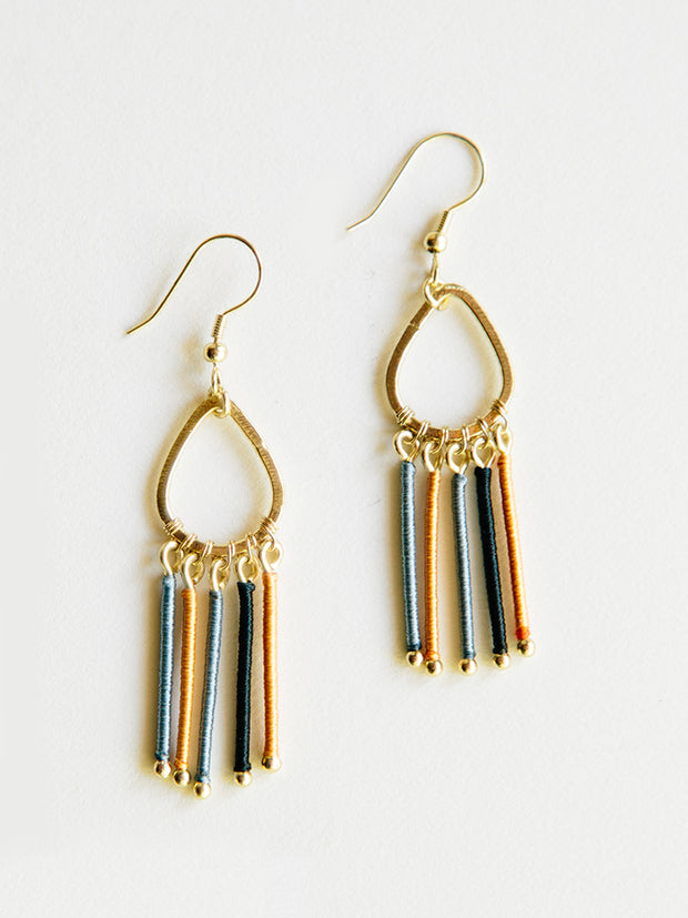 Threaded Rays Earrings Blue