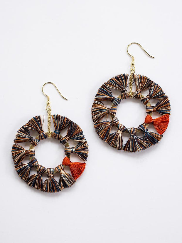 Turning Tassel Earrings Multi