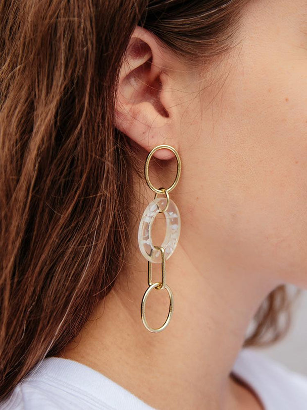 Venice Link Earrings Gold