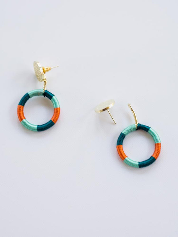 Vibrant Threads Stud Earrings Aqua Orange