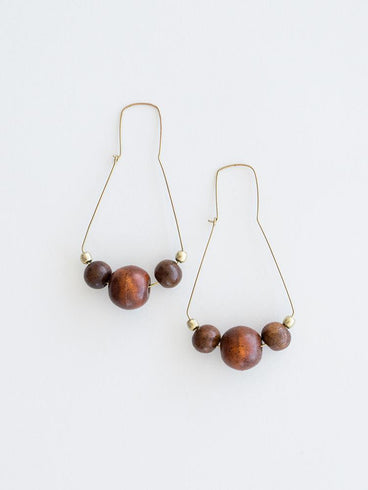 Wooden Triad Earrings