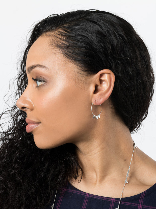 Zander Hoop Earrings Silver