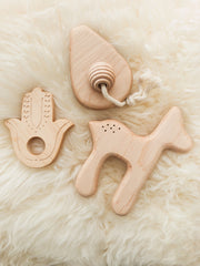 Clover + Birch Wood Baby Teether Hamsa