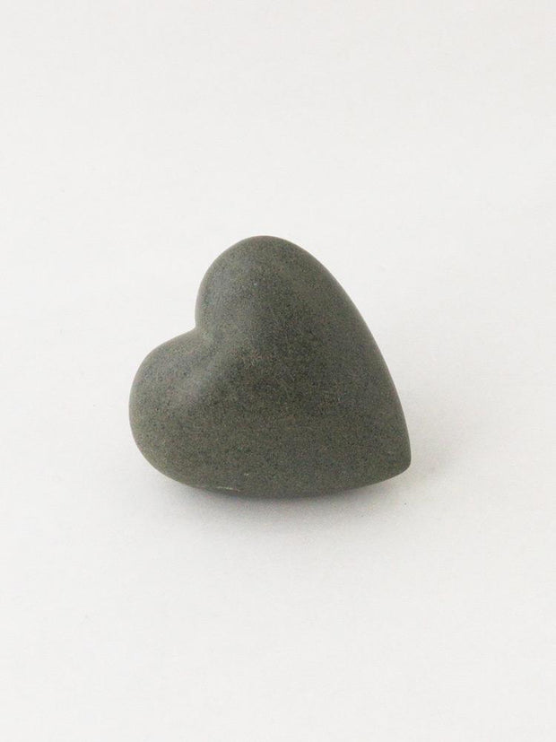 Hand Carved Heart from Haiti Grey