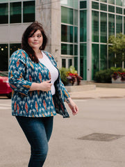 Crossroads Plus Size Jacket Blue Ikat