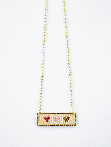 Beaded Heart Necklace Gold