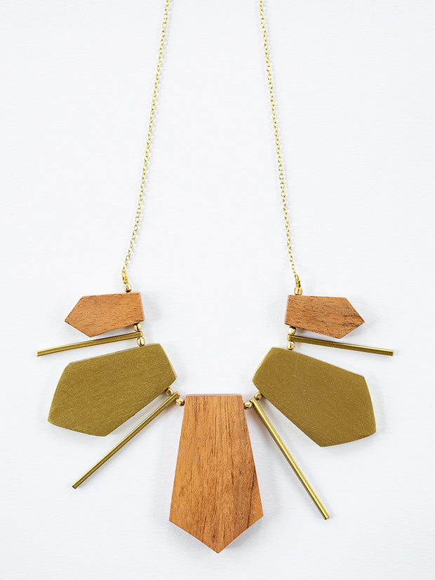 Reese Wooden Necklace Gold